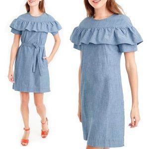 J.Crew Edie Chambray Ruffled Belted Denim Dress